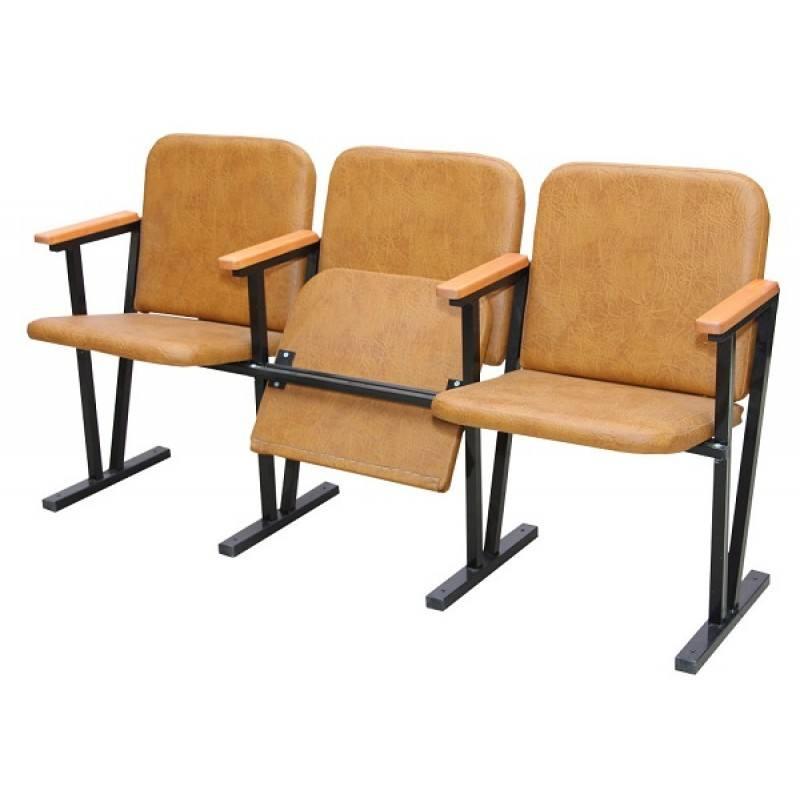 233 Крісло для актового залу м'ягке (3 місне) 1550х510х800 мм (шкірзам)