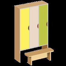 Шкаф 3-дверный для раздевалки, со скамейкой