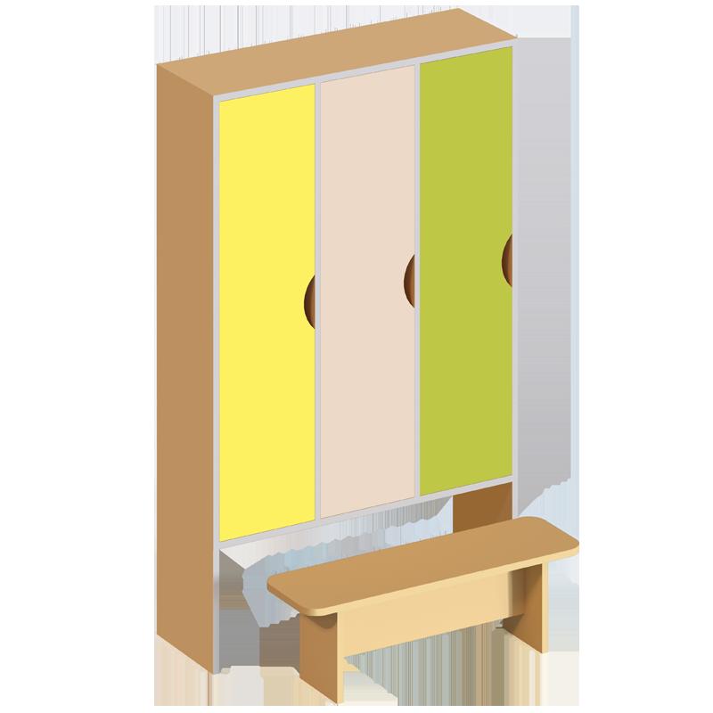 Шафа 3-дверна для роздягальні, з лавкою