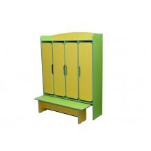 Шафа 4-дверна для роздягальні, з лавкою