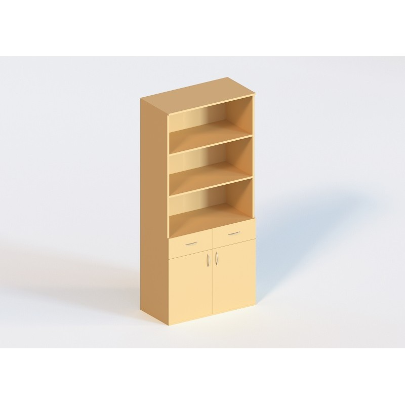 (1340) Шкаф книжный с 2 ящиками 2-дверный