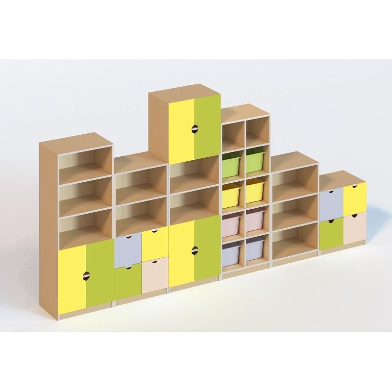 (5500) Стенка мебельная 6 элементов (без пластиковых лотков)