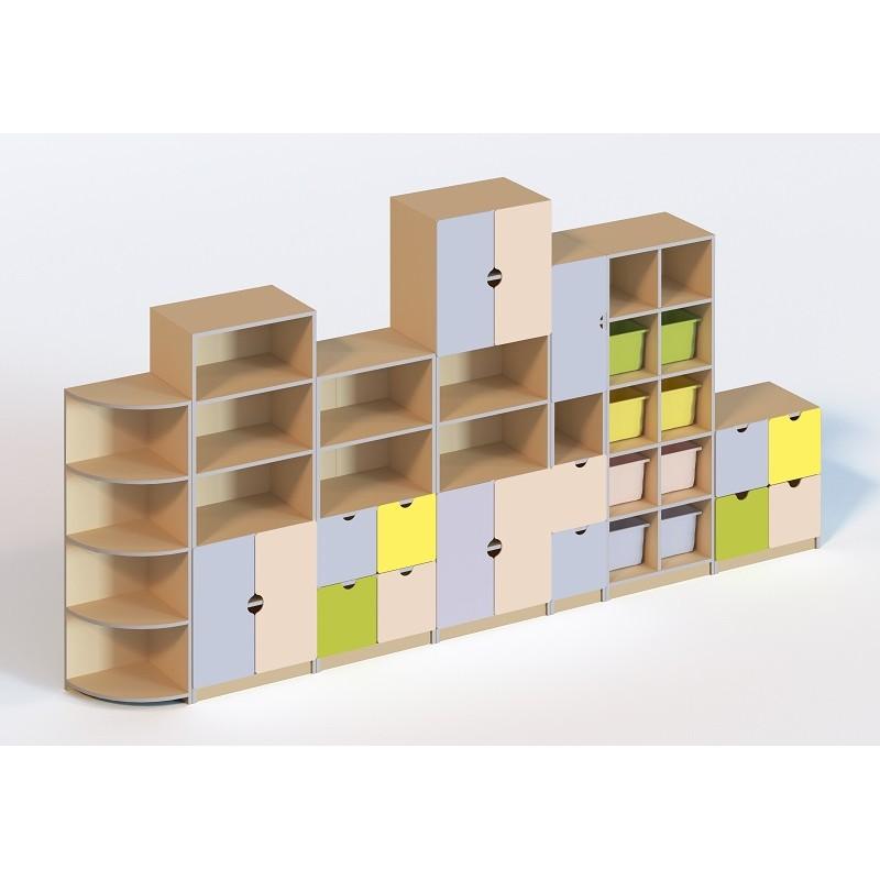 (6107) Стінка  меблева модульна з 7 елементів (без пластикових лотків)